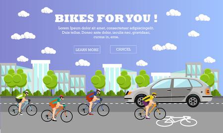 deportes caricatura: Grupo de ciclistas en bicicletas de carretera. Calle con la l�nea de bicicletas. Ciclismo en concepto de deporte banderas de dibujos animados. Ilustraci�n del vector en el dise�o de estilo plano.