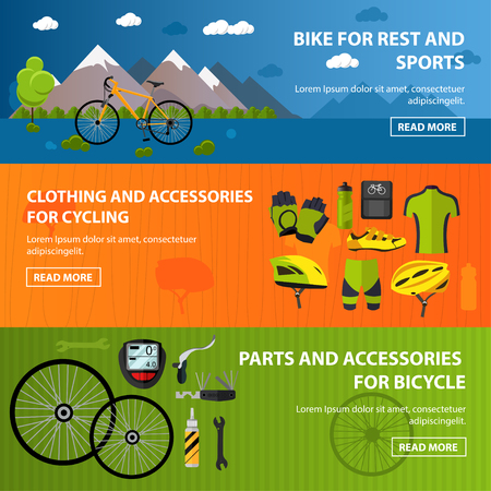 uniform green shoe: Bicycles accessories banners. Sport vector concept illustration in flat style. Clothing and equipment, bike, helmet, wheels, mountains. Graphic design elements. Illustration