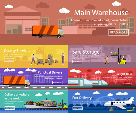 outdoor goods: Logistic and transportation concept flat banners. Vector set of truck, ship, train and air transport delivery and shipping. Warehouse service.