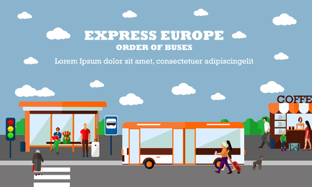 urban transport: Mode of Transport concept vector illustration. Bus stop banner. Design elements in flat style. City transportation objects, bus, station, road, cafe.