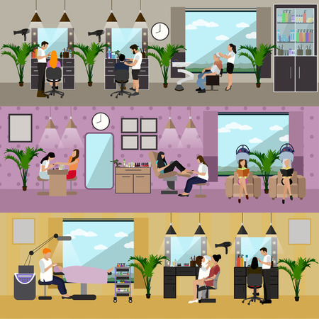horizontal haircut: Beauty salon interior vector concept banners. Haircut, manicure and make up atelier. Women in spa and beauty studio illustration in flat cartoon style.