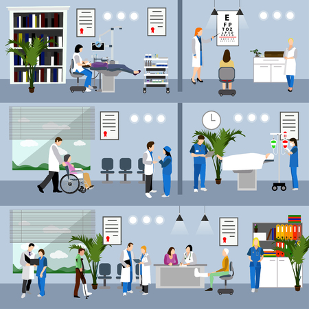 Horizontal vector banners with doctors and hospital interiors. Medicine concept. Patients passing medical check up, surgery operation room. Flat cartoon illustration. Stock Illustratie