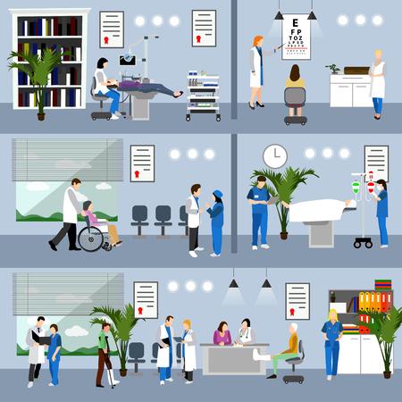 vector banners horizontales con los médicos y los interiores del hospital. concepto de medicina. Los pacientes que pasan a revisión médica, la cirugía de la sala de operación. ilustración de dibujos animados plana. Ilustración de vector