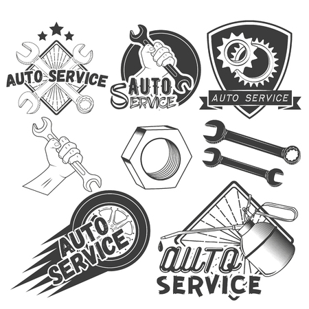 Vector set of auto service labels in vintage style. Car repair shop banners. Mechanic service tools isolated on white background. Design elements, emblems, badges, logo and icons. Illustration