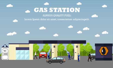 cartoon business: Gas station concept vector banner. Transport related service buildings. People fuel their cars. Illustration