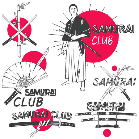 samurai: Vector set of samurai labels in vintage style. Oriental martial arts club concept. Design elements, retro emblems and icons isolated on white background. Crossed samurai katana swords.