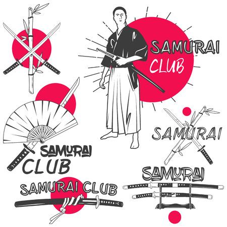 Wektor zestaw samurajów etykiety w stylu vintage. Orientalne sztuki walki Klub koncepcji. Elementy konstrukcyjne, emblematy retro i ikony samodzielnie na białym tle. Skrzyżowane miecze samurajskie katany. Ilustracje wektorowe