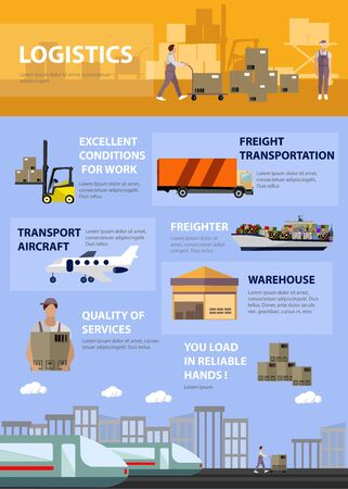 Logistic and transportation concept poster in flat style. Warehouse, delivery and shipping infographic. Vector set of truck, ship, train and air transport service.