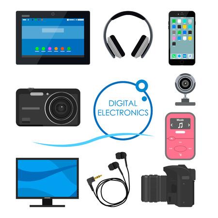musica electronica: Conjunto de aparatos y dispositivos electr�nicos de consumo. Ilustraci�n del vector en estilo plano. elementos de dise�o y los iconos, tel�fono, computadora, c�mara, tablet, auriculares.