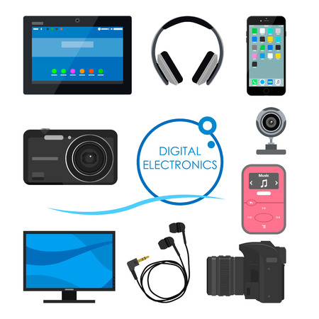 electronic: Set of gadgets and consumer electronic devices. Vector illustration in flat style. Design items and icons, phone, computer, camera, tablet, headphones.