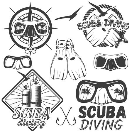 diving: Vector set of scuba diving center labels in vintage style. Sport underwater equipment, mask, fins, tanks isolated on white background. Design elements, emblems, badges, logo and icons.