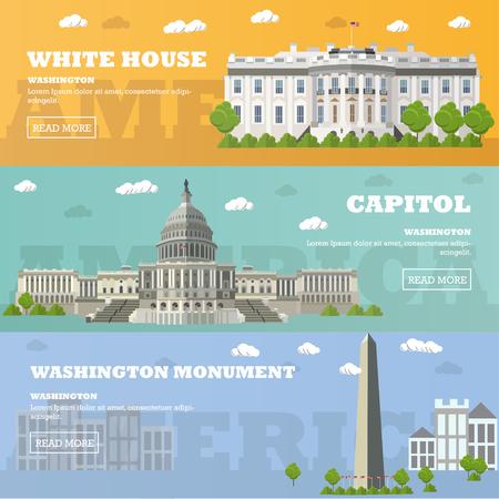 edificio: Washington DC banderas punto de referencia turística. Ilustración del vector con edificios famosos de América. Capitolio, la Casa Blanca, Washington monumento.
