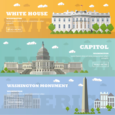 congress: Washington DC tourist landmark banners. Vector illustration with American famous buildings. Capitol, White House, Washington monument.