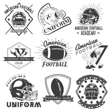 rugby ball: Vector set of rugby and american football labels in vintage style. Sport concept. Design elements, retro emblems and icons isolated on white background.