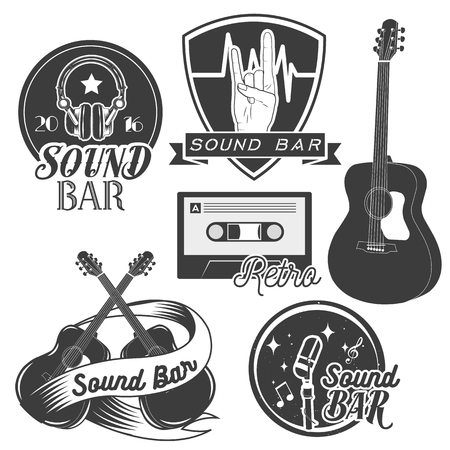 recording studio: Vector set of sound recording studio labels in vintage style. Rock music instruments, cassette tape, guitar isolated on white background. Design elements, emblems, badges, logo and icons. Illustration