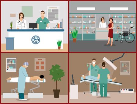 Banderas del vector fijaron con los pacientes, los médicos y hospitalarios interiores. cuidado de la salud y el concepto de la medicina. recepción de la clínica, el masaje, la cirugía de la sala de operación. ilustración de dibujos animados plana.