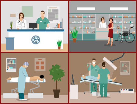 operation room: Vector banners set with patients, doctors and hospital interiors. Health care and medicine concept. Clinic reception, massage, surgery operation room. Flat cartoon illustration.