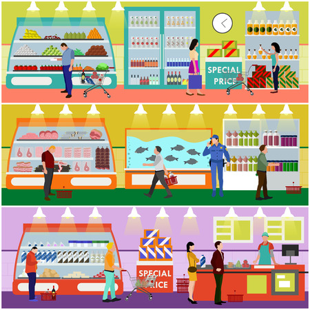 ilustración vectorial supermercado de interiores en estilo plano. Los clientes compran productos en tienda de alimentos. Productos alimenticios y alimentos en los estantes. Compras de la gente. Ilustración de vector