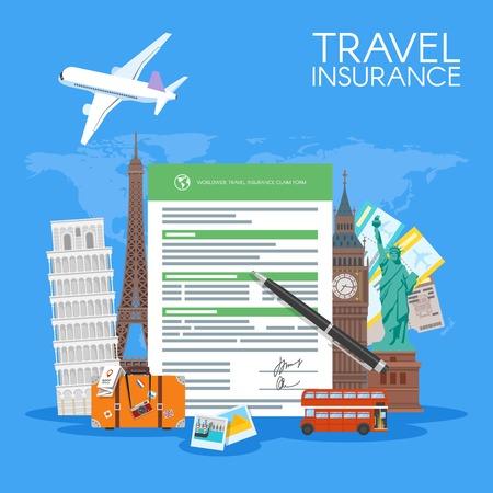 L'assicurazione di viaggio illustrazione forma di concetto di vettore. vacanza sfondo in stile piatto.