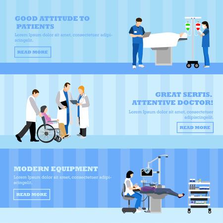 medico caricatura: vector banners horizontales con los médicos y los pacientes en el hospital. concepto de medicina. Los pacientes que pasan a revisión médica, la cirugía de la sala de operación. ilustración de dibujos animados plana.