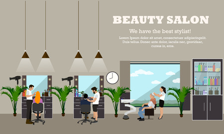 estilista: salón de belleza concepto interior vector banners. estilo de pelo estudio de diseño. Las mujeres en el taller corte de pelo. Ilustración en estilo de dibujos animados plana.