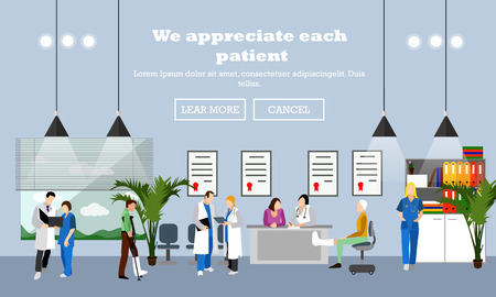 Horizontal vector banner with doctors and hospital interiors. Medicine concept. Patients passing medical check up. Flat cartoon illustration.