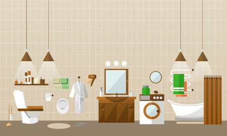 bidet: Bathroom interior with furniture. Vector illustration in flat style. Design elements, bathtub, washing machine, toilet. Illustration