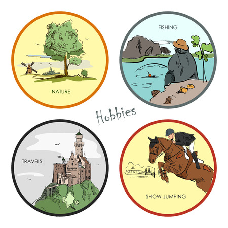 hobbies: Vector set of hobbies, fishing. Hand drawn stickers, emblems and illustrations. Sport and travel labels.