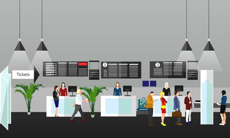 ticket office: Airport terminal concept vector illustration. Design elements and banners in flat style. Air ticket office, check-in counters and waiting area. Travel concept.