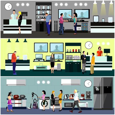 Compras de la gente en un concepto de centro comercial. La electrónica de consumo interior del almacén. Ilustración vectorial colorido. Los elementos de diseño y pancartas en estilo plano. Ordenador portátil, TV, lavadora, teléfono.