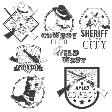 rodeo americano: Vector set of cowboy labels in vintage style. Wild west, sheriff, american rodeo. Design elements, icons, logo, emblems and badges isolated on white background.