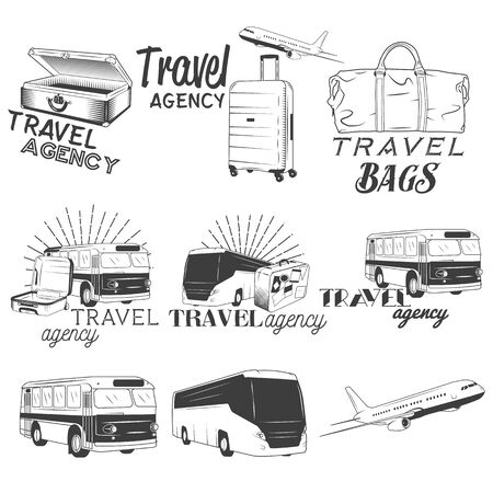 Vector set of travel and transportation labels in vintage style. Bus company, plane and travel bags illustration. Design elements, icons, logo, emblems and badges isolated on white background. Ilustração