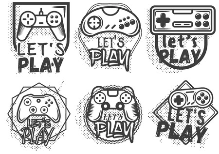 Vector set of game play joystick in vintage style. Design elements, icons, logo, emblems and badges isolated on white background. Outdoor adventure concept illustration. Lets play video game concept. Vettoriali