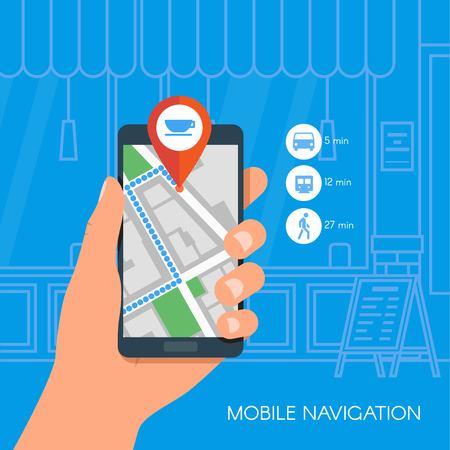 Mobile Navigation concetto di illustrazione vettoriale. Mano che tiene smartphone con mappa GPS della città sullo schermo e via. Il check-in simboli. Design piatto. Vettoriali