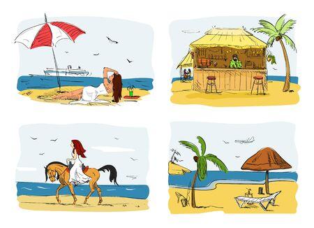 Summer holidays on a beach concept vector illustration. Woman on sand under umbrella next to sea. Horse riding. Bar on a beach.