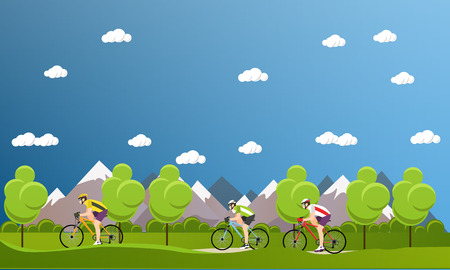 Gruppe von Radfahrern auf dem Fahrrad in den Bergen und den Park. Biken Sport-Konzept Cartoon-Banner. Vektor-Illustration im flachen Stil Design.