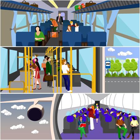 Los pasajeros en el transporte público banderas concepto de conjunto de vectores. Las personas en autobús, tren y avión. entre el transporte. Ilustración de vector