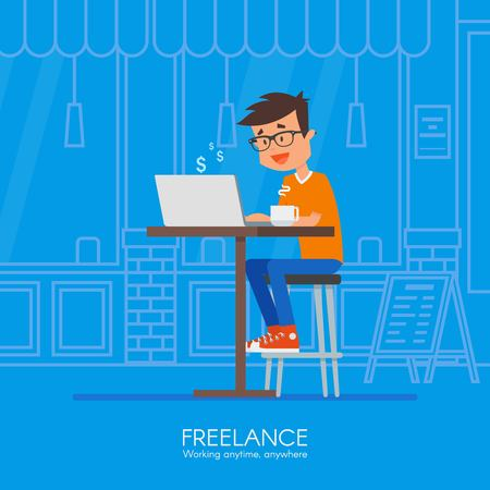 Male freelancer working remotely from his desk. Freelance concept vector illustration in flat style design. Home office workplace. Online shopping.