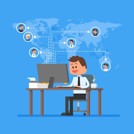 co workers: Remote team working concept vector. Work from home illustration in flat style design. Remote business control and project management. Freelance job. Social network and internet friends concept.