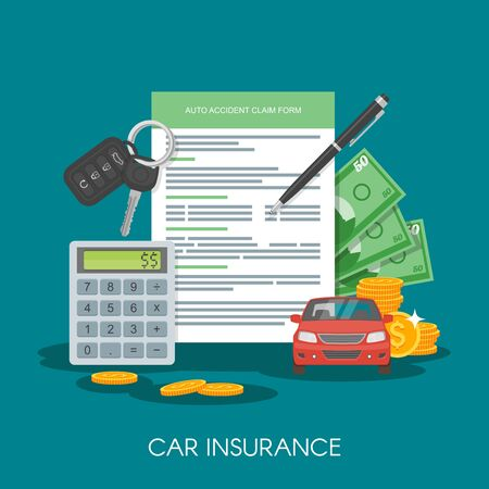 insure: Car insurance form concept vector illustration. Auto keys, car, calculator and money.
