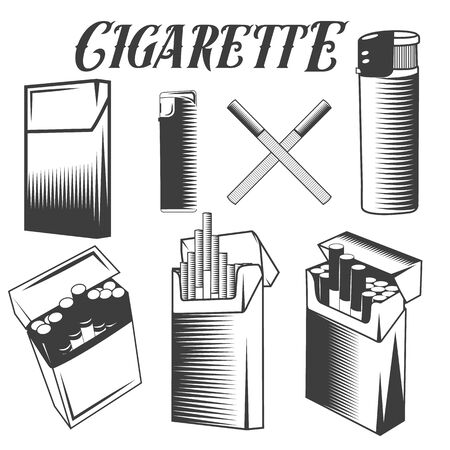 cigarette pack: Vector set of cigarette, lighter and pack of cigarettes. Smoking objects in monochrome style isolated on white background. Design elements and icons.