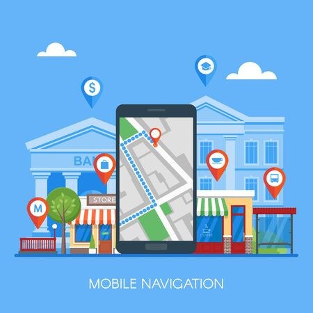 check symbol: Mobile navigation concept vector illustration. Smartphone with gps city map on screen and route. Check-in symbols. Flat design.