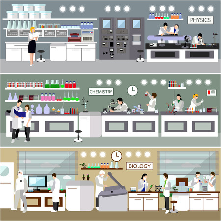 female scientist: Scientist working in laboratory vector illustration. Science lab interior. Biology, Physics and Chemistry education concept. Male and female engineers making research and experiments. Illustration