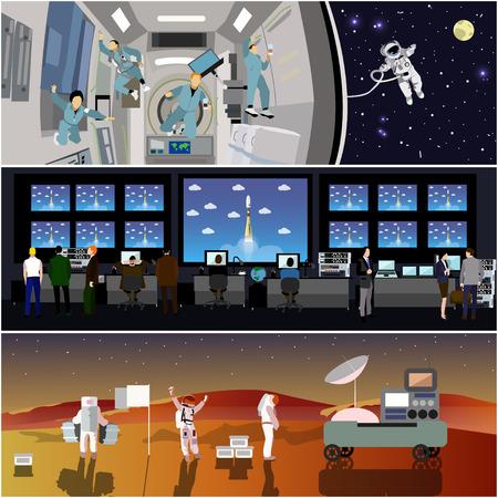 우주 임무 통제 센터. 로켓 발사 벡터 일러스트 레이 션. 우주 정거장과 우주 공간에서 우주 비행사. 화성 풍경 개념에 착륙. 일러스트