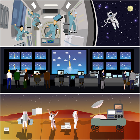 Space mission control center. Rocket launch vector illustration. Astronauts in space station and outer space. Landing to Mars landscape concept. Stock Illustratie