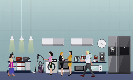 consumer electronics: People shopping in a mall. Poster concept. Consumer electronics store Interior. Colorful vector illustration. Design elements and banners in flat style. Laptop, TV, wash machine, phone. Illustration