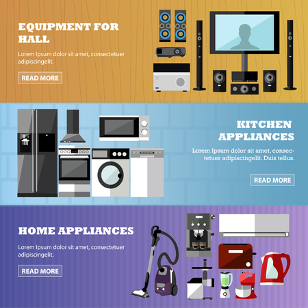 consumer electronics: Consumer electronics store banners set. Vector illustration. Design elements in flat style. Home related devices, oven, TV, wash machine, refrigerator. Illustration