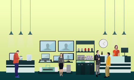 mall interior: People shopping in a mall. Poster concept. Consumer electronics store Interior. Colorful vector illustration. Design elements and banners in flat style.