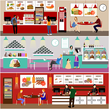 Fast food restaurant interior vector illustration. Banners set in flat design. Ice cream cafe. Menu in fast food eatery.  イラスト・ベクター素材