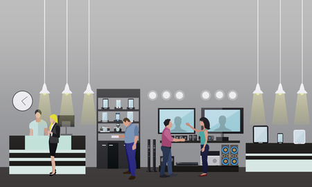 People shopping in a mall. Poster concept. Consumer electronics store Interior. Colorful vector illustration. Design elements and banners in flat style.
